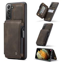 CaseMe - Samsung Galaxy S21 Hoesje - Back Cover - met RFID Pasjeshouder - Donker Bruin