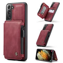 CaseMe - Samsung Galaxy S21 Hoesje - Back Cover - met RFID Pasjeshouder - Rood