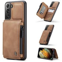 CaseMe - Samsung Galaxy S21 Plus Hoesje - Back Cover - met RFID Pasjeshouder - Licht Bruin