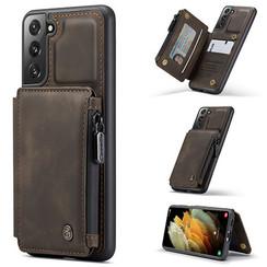 CaseMe - Samsung Galaxy S21 Plus Hoesje - Back Cover - met RFID Pasjeshouder - Donker Bruin