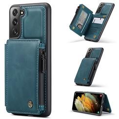 CaseMe - Samsung Galaxy S21 Plus Hoesje - Back Cover - met RFID Pasjeshouder - Blauw