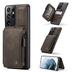 CaseMe - Samsung Galaxy S21 Ultra Hoesje - Back Cover - met RFID Pasjeshouder - Donker Bruin