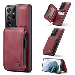 CaseMe - Samsung Galaxy S21 Ultra Hoesje - Back Cover - met RFID Pasjeshouder - Rood