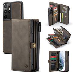 CaseMe - Samsung Galaxy S21 Ultra Hoesje - Back Cover en Wallet Book Case - Multifunctioneel - Bruin