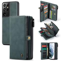 CaseMe - Samsung Galaxy S21 Ultra Hoesje - Back Cover en Wallet Book Case - Multifunctioneel - Blauw