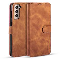 CaseMe - Samsung Galaxy S21 Hoesje - Met Magnetische Sluiting - Ming Serie - Leren Book Case - Licht Bruin