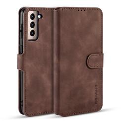 CaseMe - Samsung Galaxy S21 Hoesje - Met Magnetische Sluiting - Ming Serie - Leren Book Case - Donker Bruin