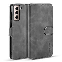 CaseMe - Samsung Galaxy S21 Hoesje - Met Magnetische Sluiting - Ming Serie - Leren Book Case - Grijs