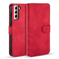 CaseMe - Samsung Galaxy S21 Hoesje - Met Magnetische Sluiting - Ming Serie - Leren Book Case - Rood