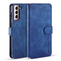 CaseMe - Samsung Galaxy S21 Hoesje - Met Magnetische Sluiting - Ming Serie - Leren Book Case - Blauw