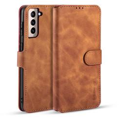 CaseMe - Samsung Galaxy S21 Plus Hoesje - Met Magnetische Sluiting - Ming Serie - Leren Book Case - Licht Bruin
