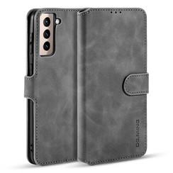 CaseMe - Samsung Galaxy S21 Plus Hoesje - Met Magnetische Sluiting - Ming Serie - Leren Book Case - Grijs