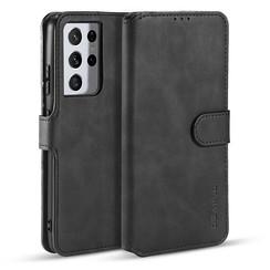 CaseMe - Samsung Galaxy S21 Ultra Hoesje - Met Magnetische Sluiting - Ming Serie - Leren Book Case - Zwart
