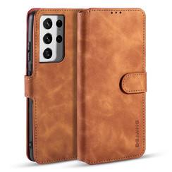 CaseMe - Samsung Galaxy S21 Ultra Hoesje - Met Magnetische Sluiting - Ming Serie - Leren Book Case - Licht Bruin