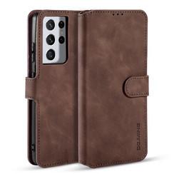 CaseMe - Samsung Galaxy S21 Ultra Hoesje - Met Magnetische Sluiting - Ming Serie - Leren Book Case - Donker Bruin