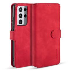 CaseMe - Samsung Galaxy S21 Ultra Hoesje - Met Magnetische Sluiting - Ming Serie - Leren Book Case - Rood