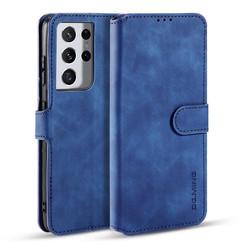 CaseMe - Samsung Galaxy S21 Ultra Hoesje - Met Magnetische Sluiting - Ming Serie - Leren Book Case - Blauw
