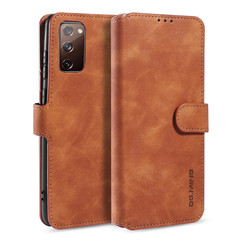 CaseMe - Samsung Galaxy S20 FE Hoesje - Met Magnetische Sluiting - Ming Serie - Leren Book Case - Licht Bruin