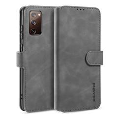 CaseMe - Samsung Galaxy S20 FE Hoesje - Met Magnetische Sluiting - Ming Serie - Leren Book Case - Grijs