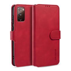 CaseMe - Samsung Galaxy S20 FE Hoesje - Met Magnetische Sluiting - Ming Serie - Leren Book Case - Rood