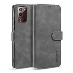 CaseMe - Samsung Galaxy Note 20 Hoesje - Met Magnetische Sluiting - Ming Serie - Leren Book Case - Grijs