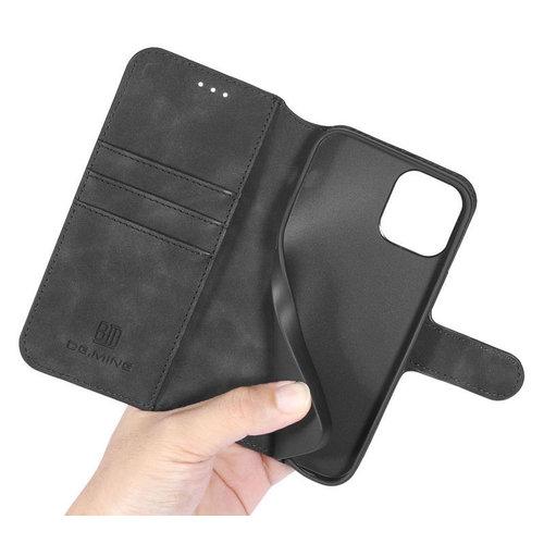 CaseMe CaseMe - iPhone 12 Mini Hoesje - Met Magnetische Sluiting - Ming Serie - Leren Book Case - Zwart