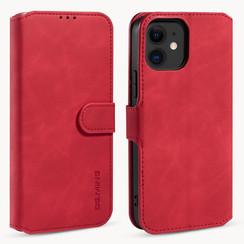 CaseMe - iPhone 12 Mini Hoesje - Met Magnetische Sluiting - Ming Serie - Leren Book Case - Rood