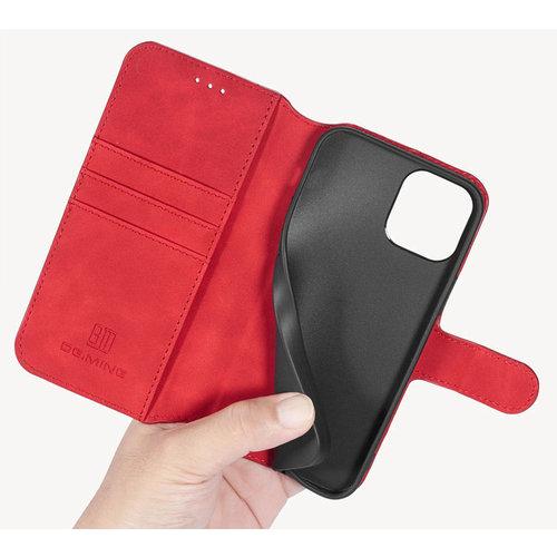 CaseMe CaseMe - iPhone 12 Mini Hoesje - Met Magnetische Sluiting - Ming Serie - Leren Book Case - Rood