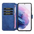 CaseMe CaseMe - iPhone 12 Mini Hoesje - Met Magnetische Sluiting - Ming Serie - Leren Book Case - Blauw