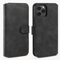 CaseMe - iPhone 12 / 12 Pro Hoesje - Met Magnetische Sluiting - Ming Serie - Leren Book Case - Zwart
