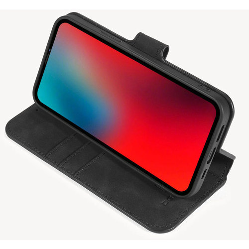 CaseMe CaseMe - iPhone 12 / 12 Pro Hoesje - Met Magnetische Sluiting - Ming Serie - Leren Book Case - Zwart