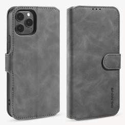 CaseMe - iPhone 12 / 12 Pro Hoesje - Met Magnetische Sluiting - Ming Serie - Leren Book Case - Grijs