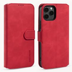 CaseMe - iPhone 12 / 12 Pro Hoesje - Met Magnetische Sluiting - Ming Serie - Leren Book Case - Rood