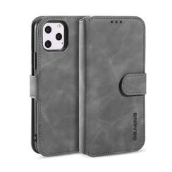 CaseMe - iPhone 12 Pro Max Hoesje - Met Magnetische Sluiting - Ming Serie - Leren Book Case - Grijs