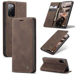 CaseMe - Samsung Galaxy S20 FE Hoesje - Wallet Book Case - Magneetsluiting - Donker Bruin