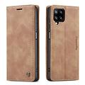 CaseMe CaseMe - Samsung Galaxy A12 Hoesje - Wallet Book Case - Magneetsluiting - Licht Bruin