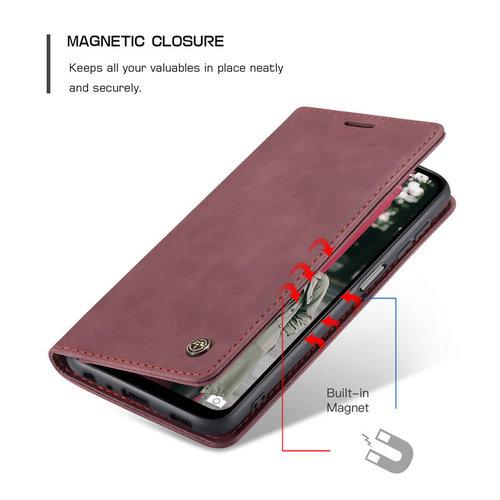 CaseMe CaseMe - Samsung Galaxy A12 Hoesje - Wallet Book Case - Magneetsluiting - Rood