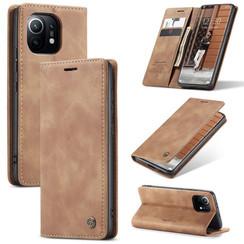 CaseMe - Xiaomi Mi 11 Hoesje - Wallet Book Case - Magneetsluiting - Licht Bruin