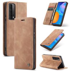 CaseMe - Huawei P Smart 2021 Hoesje - Wallet Book Case - Magneetsluiting - Licht bruin