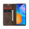 CaseMe CaseMe - Huawei P Smart 2021 Hoesje - Wallet Book Case - Magneetsluiting - Donker Bruin