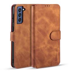 CaseMe - Samsung Galaxy S21 FE Hoesje - Met Magnetische Sluiting - Ming Serie - Leren Book Case - Licht Bruin