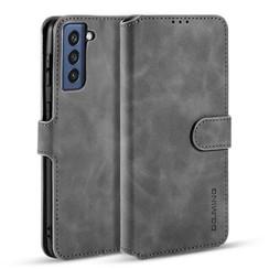 CaseMe - Samsung Galaxy S21 FE Hoesje - Met Magnetische Sluiting - Ming Serie - Leren Book Case - Grijs