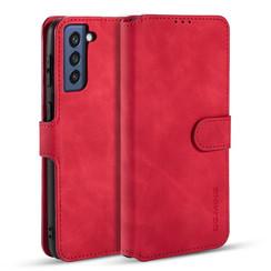 CaseMe - Samsung Galaxy S21 FE Hoesje - Met Magnetische Sluiting - Ming Serie - Leren Book Case - Rood