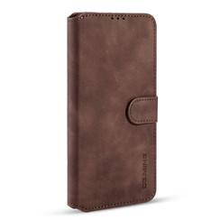 CaseMe - Samsung Galaxy S21 FE Hoesje - Met Magnetische Sluiting - Ming Serie - Leren Book Case - Donker Bruin