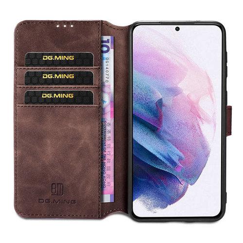 CaseMe CaseMe - OnePlus 9 Hoesje - Met Magnetische Sluiting - Ming Serie - Leren Book Case - Donker Bruin