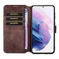 CaseMe CaseMe - OnePlus 9 Pro Hoesje - Met Magnetische Sluiting - Ming Serie - Leren Book Case - Donker Bruin