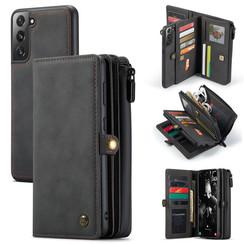 CaseMe - Samsung Galaxy S21 FE Hoesje - Back Cover en Wallet Book Case - Multifunctioneel - Zwart
