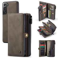 CaseMe - Samsung Galaxy S21 FE Hoesje - Back Cover en Wallet Book Case - Multifunctioneel - Bruin