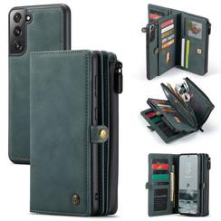 CaseMe - Samsung Galaxy S21 FE Hoesje - Back Cover en Wallet Book Case - Multifunctioneel - Blauw