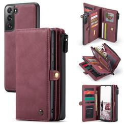 CaseMe - Samsung Galaxy S21 FE Hoesje - Back Cover en Wallet Book Case - Multifunctioneel - Rood